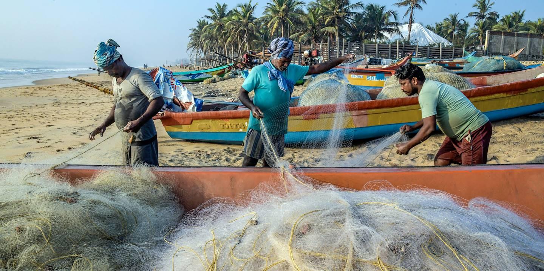Pêcheurs à Mahabalipuram - Tamil Nadu - Inde