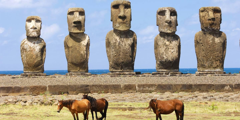 Statues Moai - Ahu Tongariki - Îles de Pâques - Chili