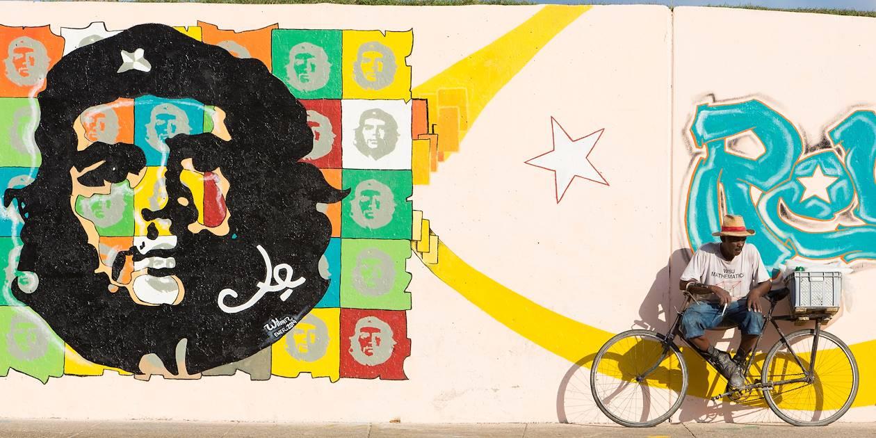 Piéton devant une fresque représentant Che Guevara - La Havane - Cuba
