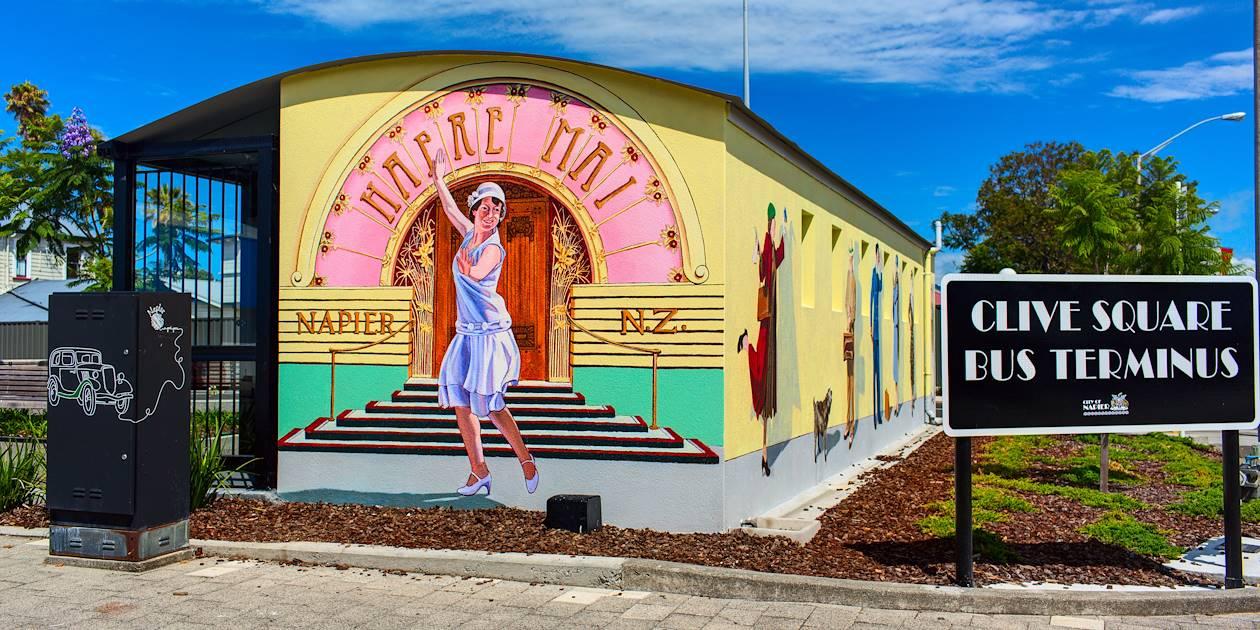 Façade d'un arrêt de bus à Napier - Ile du Nord - Nouvelle Zélande