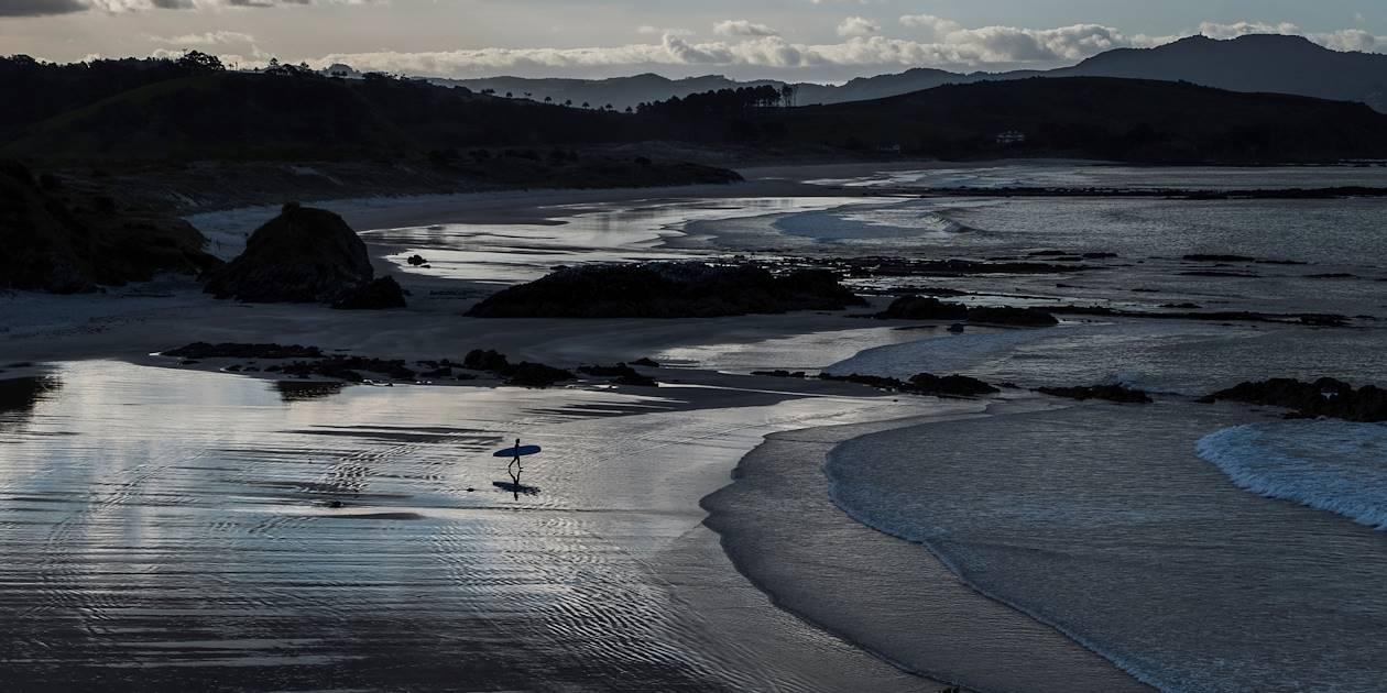 Surfeur dans la péninsule de Tawharanui - Île du Nord - Nouvelle Zélande
