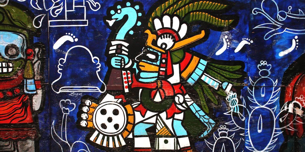 Peinture murale dans le centre historique de Mexico - District fédéral de Mexico - Mexique