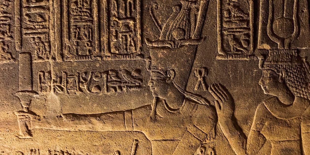 Détail d'un hiéroglyphe du Temple d'Isis - Île de Philae - Égypte