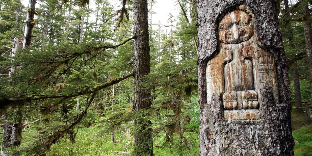 Corbeau sculpté dans un arbre - Alaska - Etats-Unis