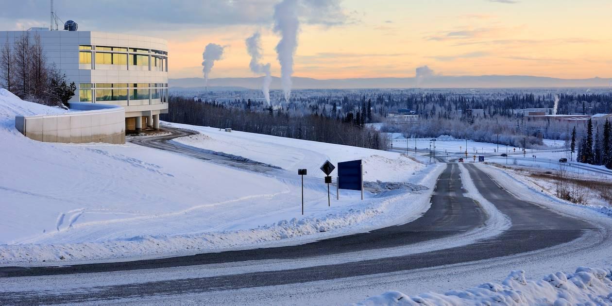 Université de Fairbanks sous la neige - Alaska - Etats-Unis