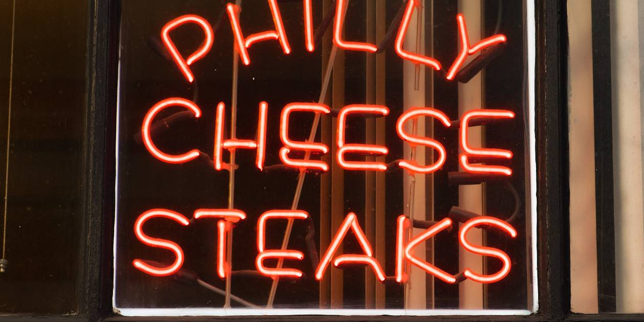 Enseigne d'un restaurant de cheese steak - Philadelphie - Etats-Unis