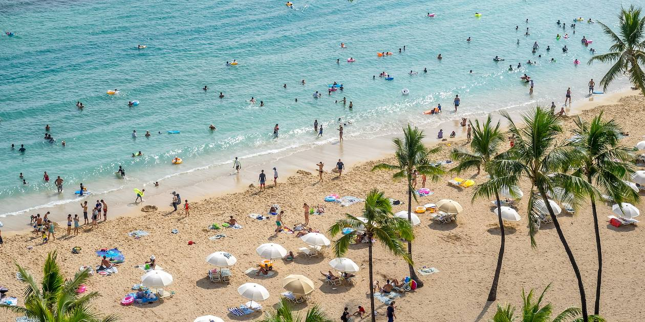 Plage de Waikiki - Honolulu - Ile d'Oahu - Hawaï - Etats-Unis
