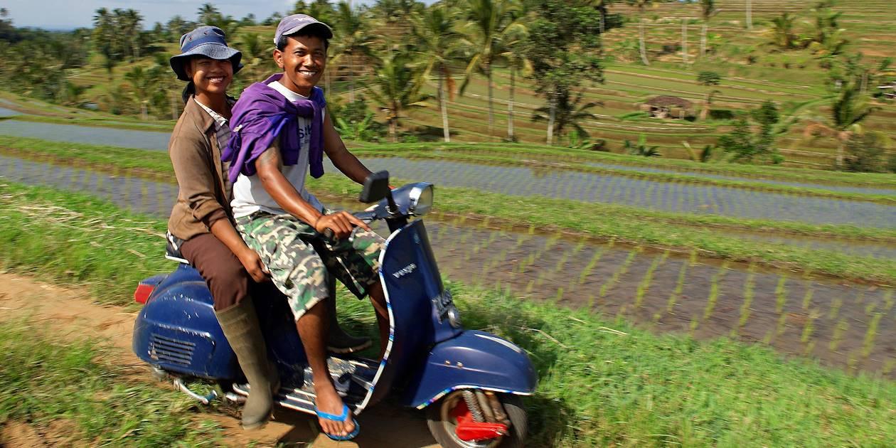 En scooter au milieu des rizières sur l'île de Bali - Indonésie