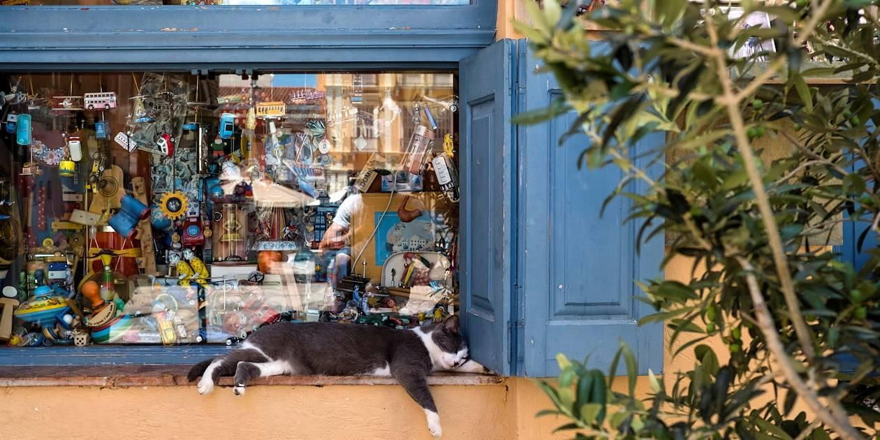 Sieste d'un chat près d'une boutique de jouets - Nauplie - Péloponnèse - Grèce