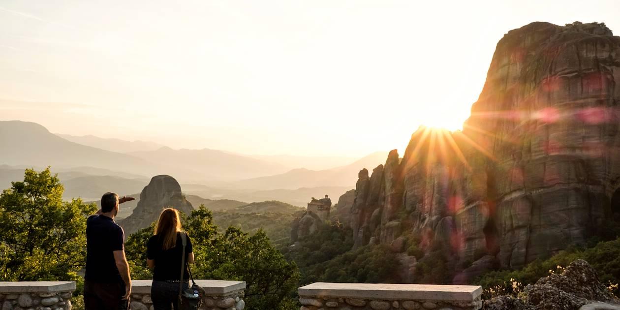 Coucher de soleil sur les Météores - Kalambaka - Thessalonique - Grèce