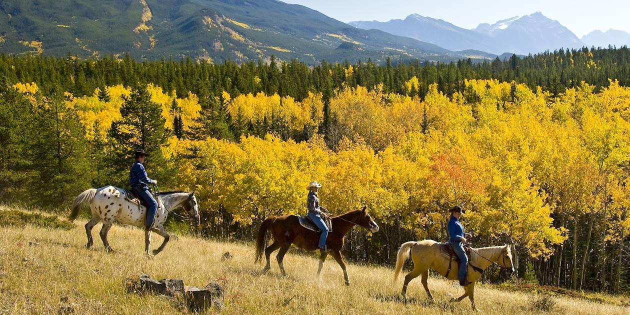 Randonnée à cheval dans le Parc national Jasper - Alberta - Canada