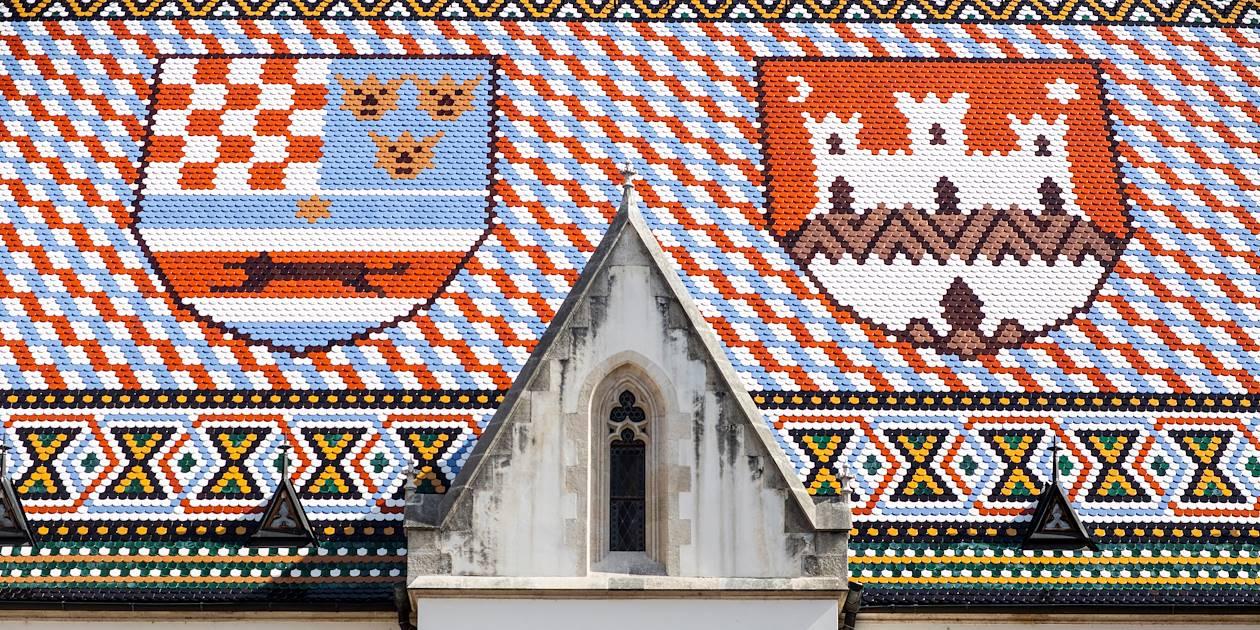 Église Saint Marc de Zagreb : détail de sa toiture - Croatie