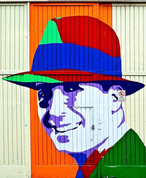 Street art à Buenos Aires : portrait de Carlos Gardel - Argentine