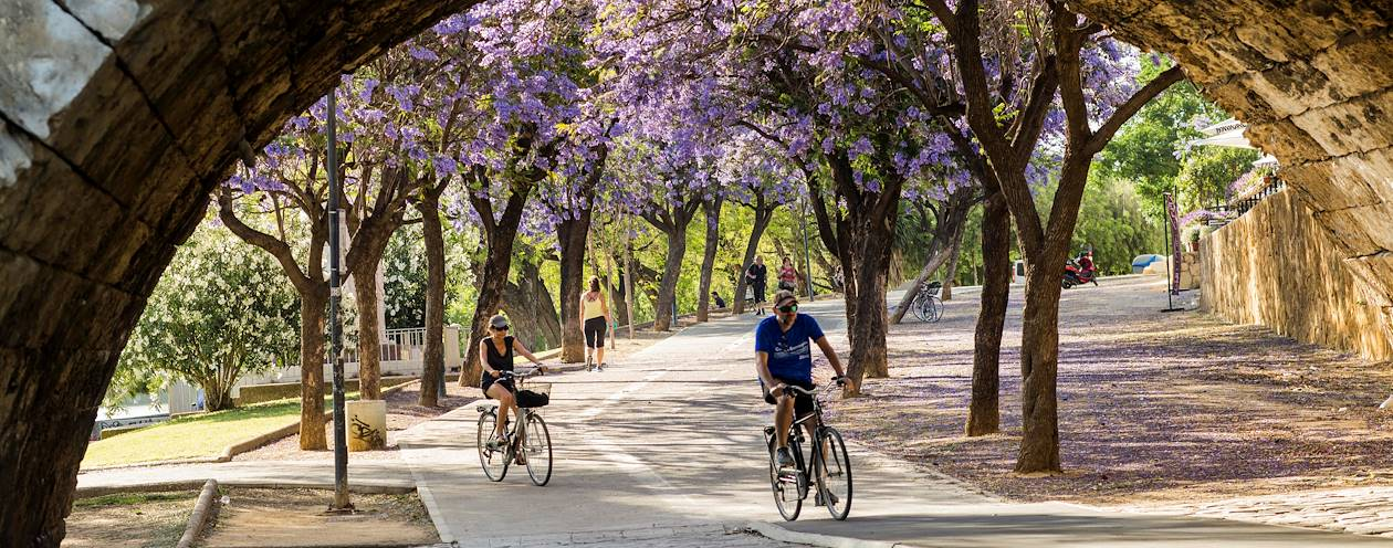 Piste cyclable le long du fleuve Guadalquivir - Séville - Andalousie - Espagne