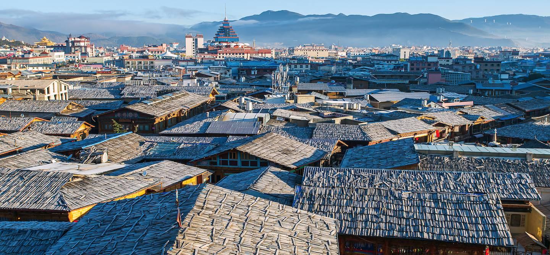 Vue des toits de la vieille ville - Zhongdian - Province du Yunnan - Chine