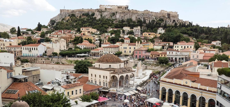 Vue sur la place Monastiraki et l'Acropole - Athènes - Grèce