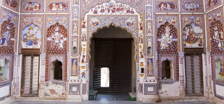 Cour intérieure d'un haveli à Fatehpur - Shekhawati - Rajhastan - Inde