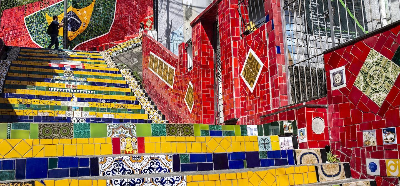 L'Escalier Selaron, dans le quartier de Santa Teresa - Rio de Janeiro - Brésil