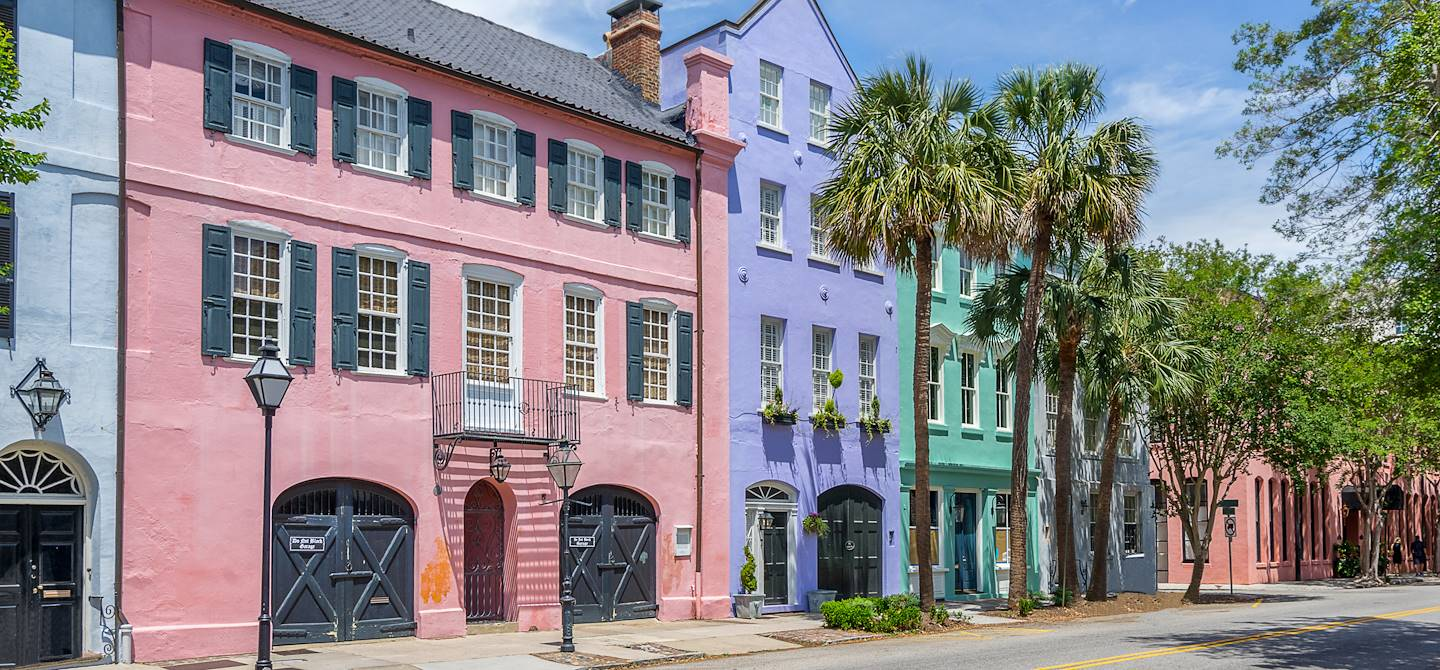 Quartier de Rainbow Row - Charleston - Etats-Unis