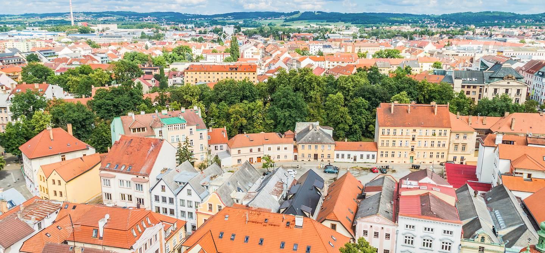 Vue aérienne de Ceské Budejovice - Bohême-du-Sud- République Tchèque