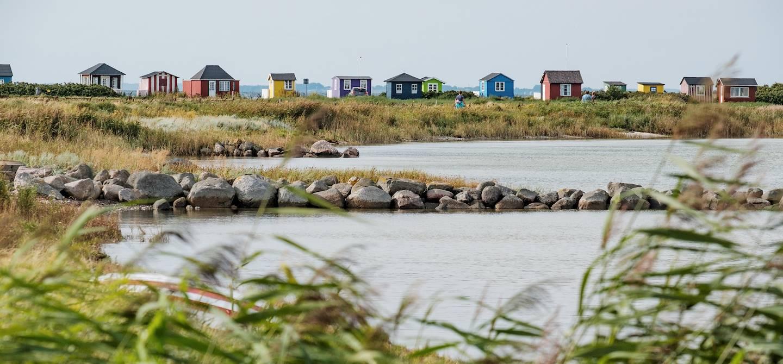 Cabines de plage colorées d'Aeroskobing - Île d'Aero - Danemark