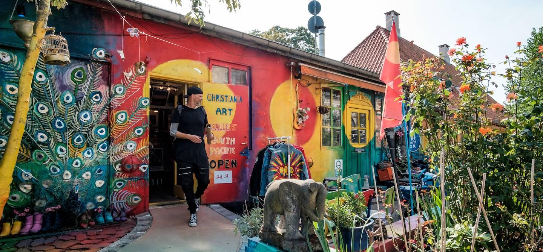Galerie d'art dans le quartier hippie de Christiania - Copenhague - Danemark