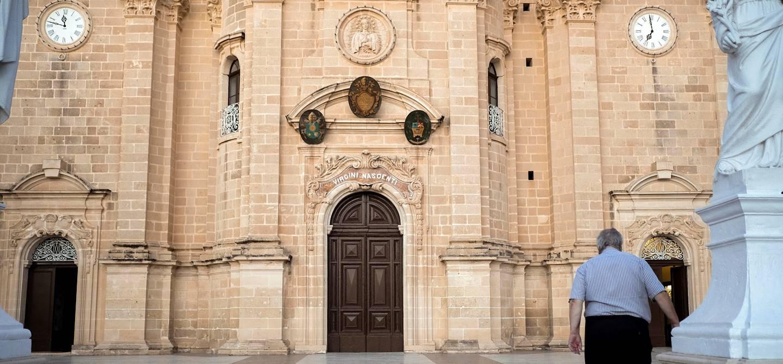 Façade de l'Église de la Nativité de Notre-Dame - Xaghra - Île de Gozo - Malte