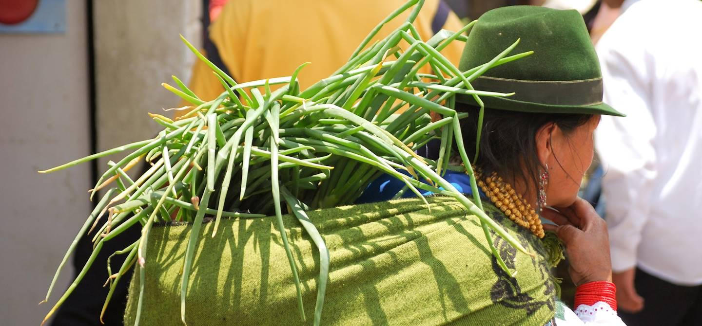 Paysanne sur le marché d'Otavalo - Equateur