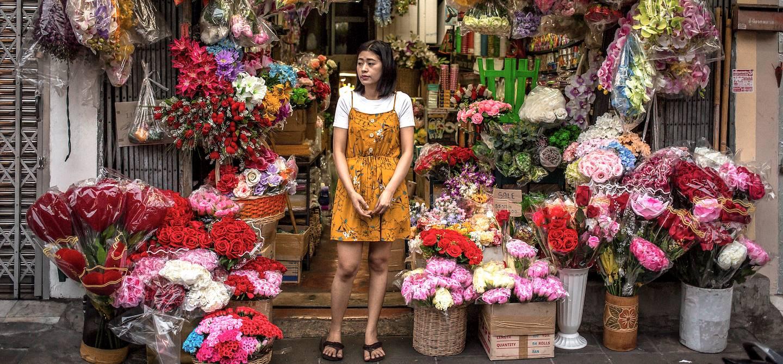 Dans les rues de Bangkok : le marché aux fleurs - Bangkok - Thaïlande