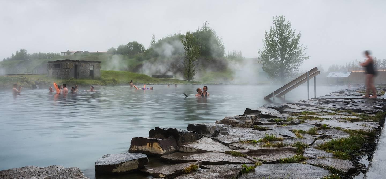 Secret Lagoon : source d'eau chaude à ciel ouvert - Fludir - Sud-Ouest - Islande