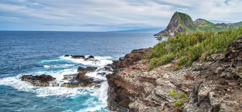 Vue sur Kahakuloa depuis Olivine Pool - île de Maui - Hawai - États-Unis