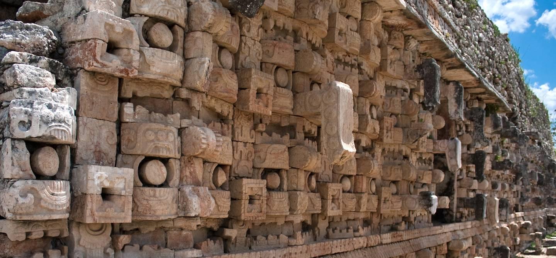 Détail de la façade du site archéologique maya de Kabah - Yucatan - Mexique