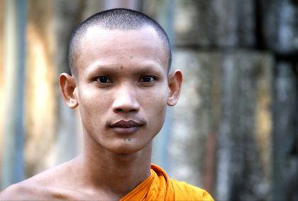 Portrait d'un moine - Temples d'Angkor - Province de Siem Reap - Cambodge - Maryline Goustiaux