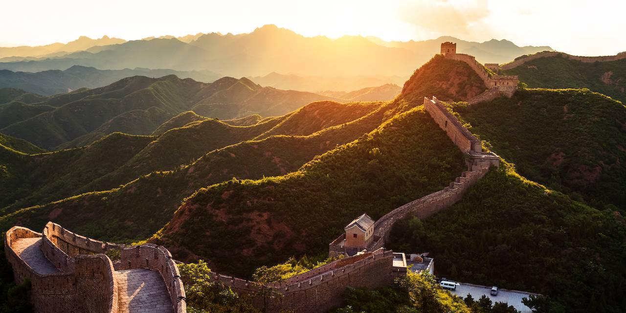 Coucher de soleil sur la Grande Muraille de Chine - Pékin - Chine
