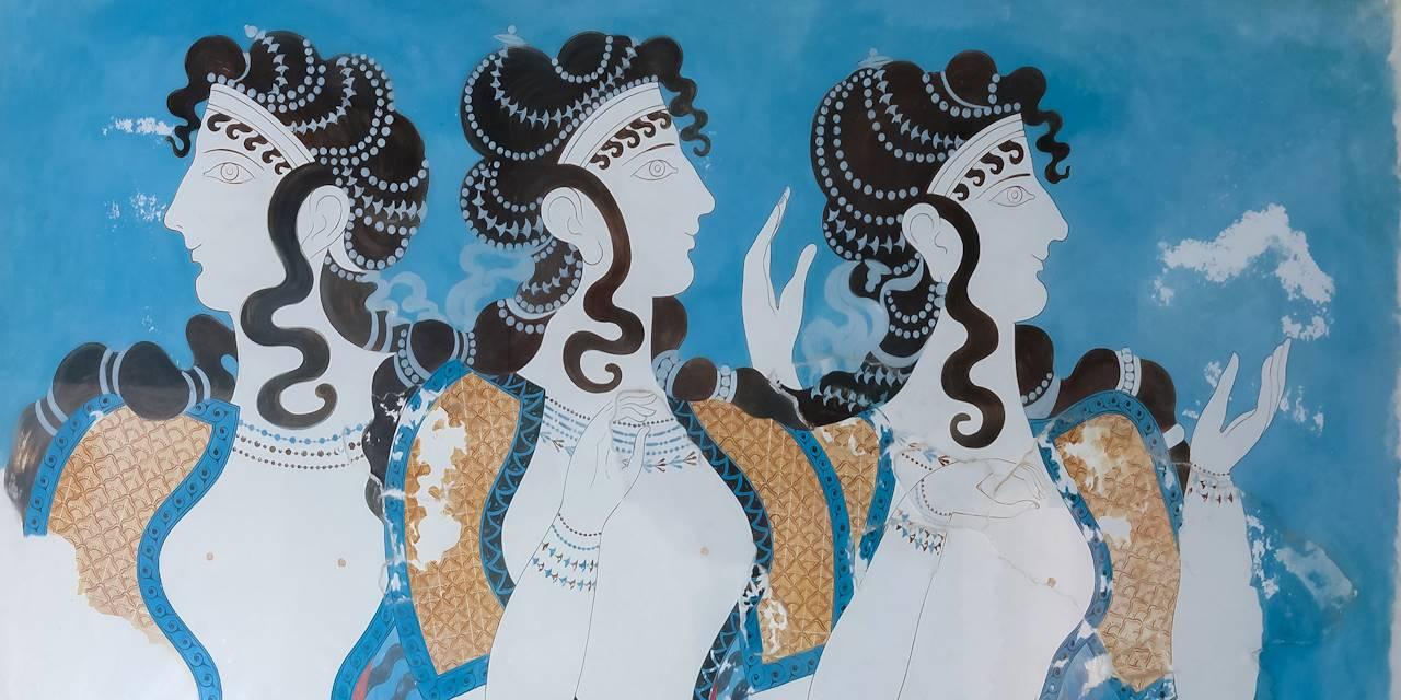 fresque des Dames en Bleu venant du site Minoen de Knossos - Crète -Grèce