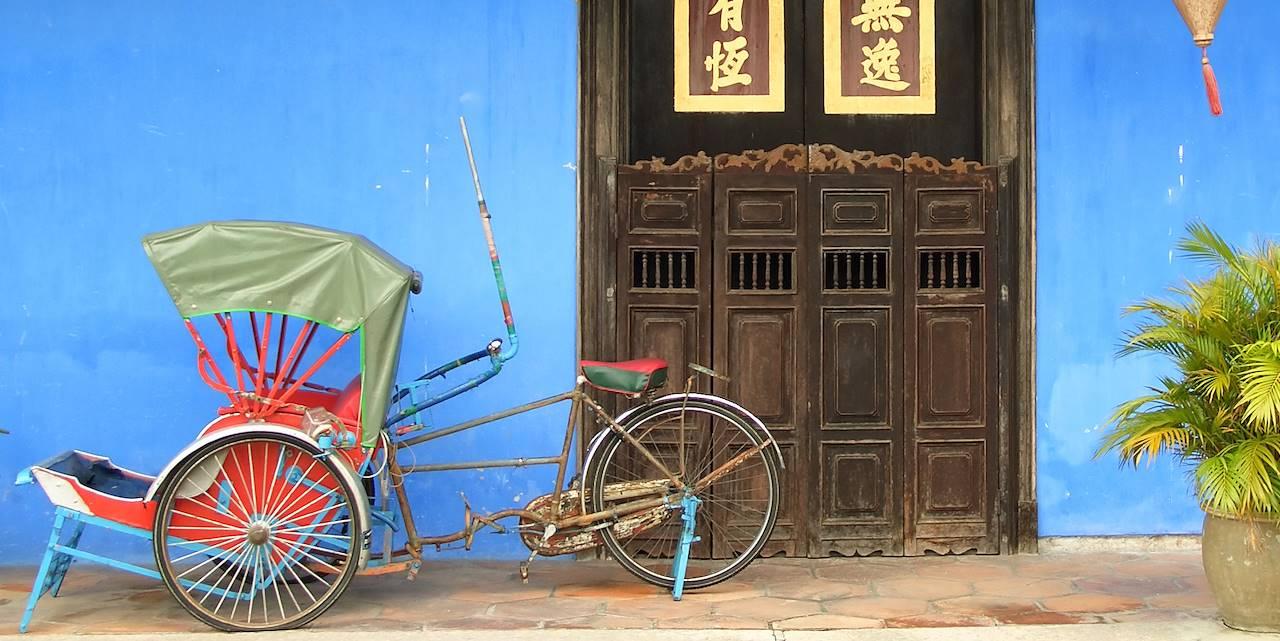 Devant l'hôtel Blue Mansion à Penang - Malaisie