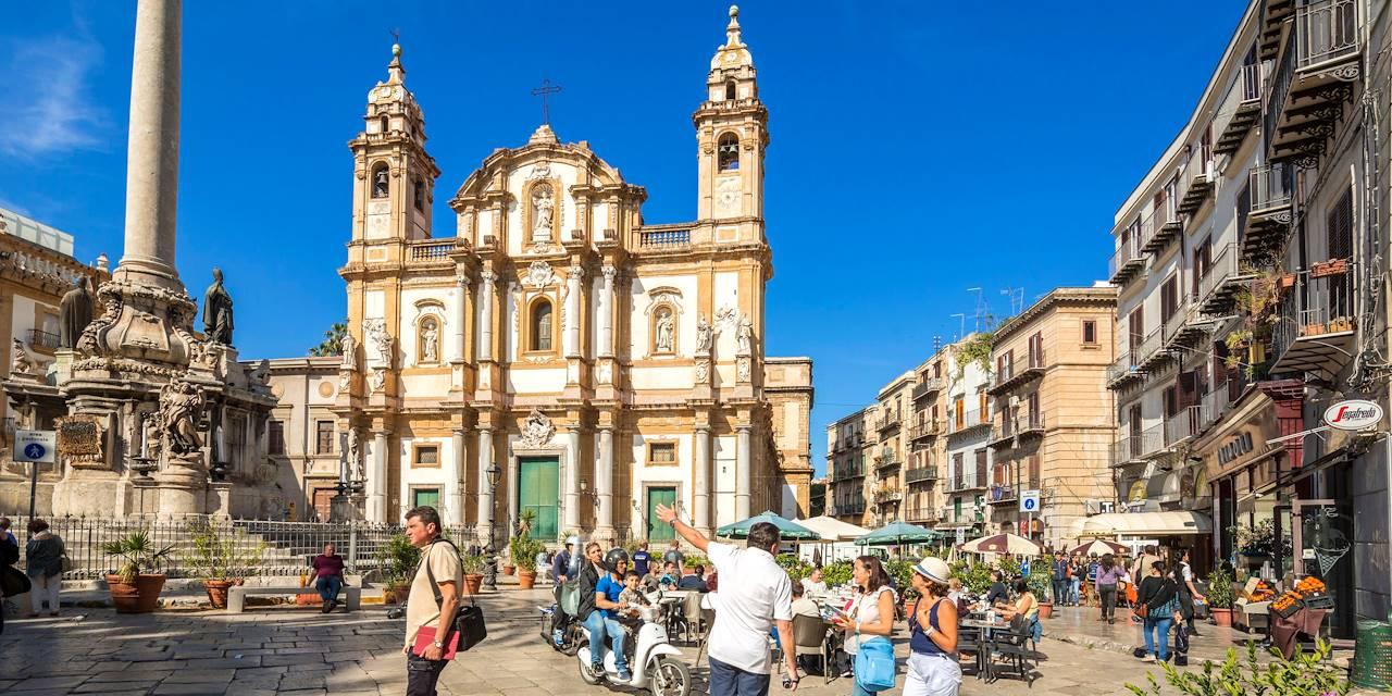 Eglise et piazza San Domenico - Palerme - Sicile - Italie