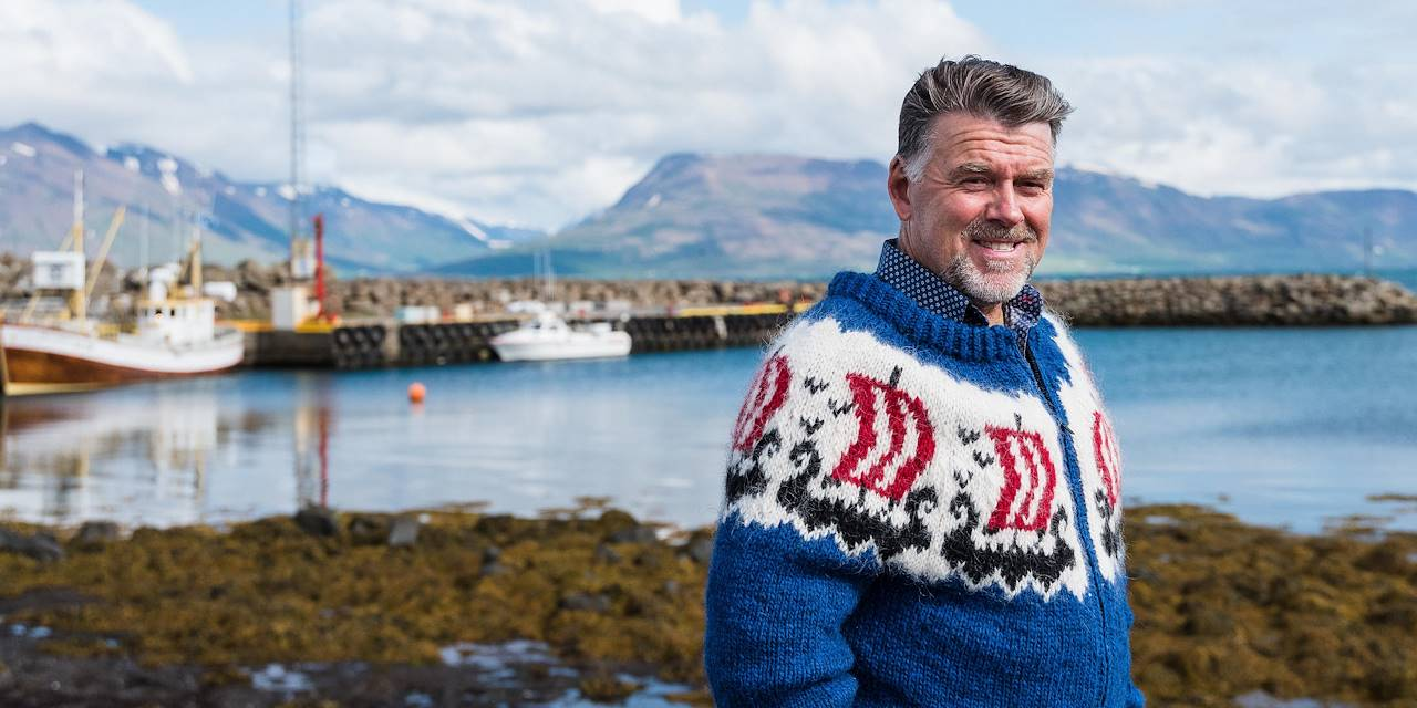 Portrait du propriétaire de Ektafiskur, restaurant et entreprise de production de poissons salés - Hauganes - Nord - Islande