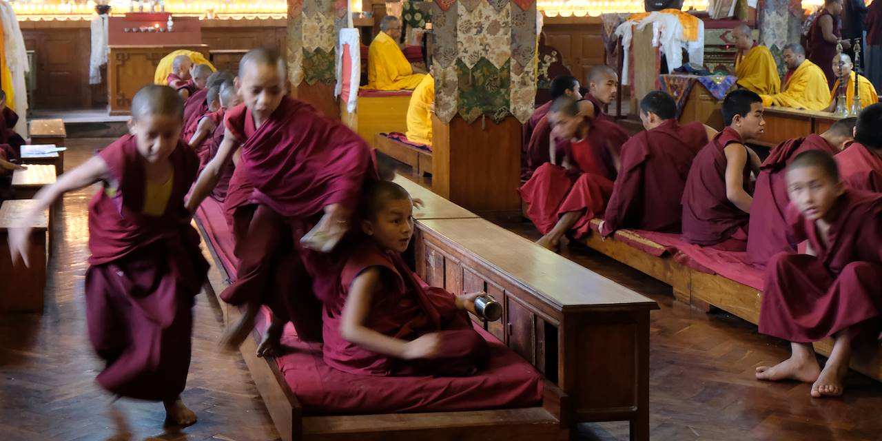 Pooja au monastère Shechen à Bodnath - Région de Katmandou - Népal