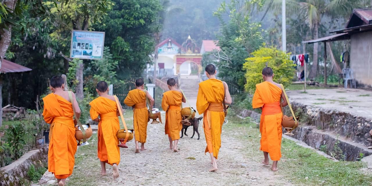 Défilé des moines pour l'offrande traditionnelle des fidèles - Muang Ngoi - Laos